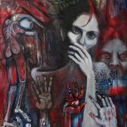 """Penando"" By Shalak. Oil and mixed-media on canvas. 2006  (Stolen - Award offered if found)"
