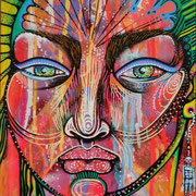 """Portrait"" by Shalak. Mixed media. 2011.  (Sold to Private Collector -Madrid, Spain)"