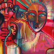 """Alma"" by Shalak. Spray paint and acrylic on canvas (6ft x 2.5ft).  2009   (Sold to Private Collector - Canada)"