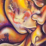 """Amor"" by Shalak.  Mixed media on canvas.  2011   (Private Collection - Brazil)"