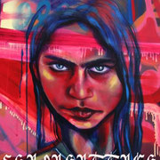 "Detail from ""Alma"" by Shalak. Spray paint and acrylic on canvas (6ft x 2.5ft).  2009   (Sold to Private Collector - Canada)"
