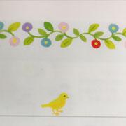 草花と黄色い小鳥