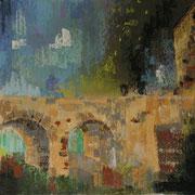 paysage Mareuil, pont du château pastel  30x30
