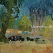paysage pies noires au pré pastel 22x25
