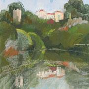 paysage Vouvant pastel 40x50