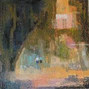 paysage scène de rue pastel  40x40