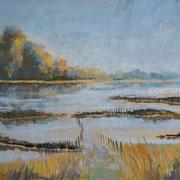paysage bord de Loire pastel 30x40