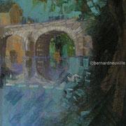 paysage Durtal, pont sur le loir  pastel  30x40