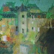paysage le vieil Baugé pastel  30x40