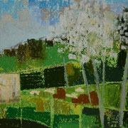 paysage le pré de l'ouche II pastel 20x30