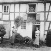 Mit einem Handwagen wird das Heu eingefahren und auf dem Dachboden des Hauses verbracht. Die Familie besaß nie ein Pferd und musste als Gegenleistung für den Pferdeeinsatz beim Mistfahren oder Pflügen Dienste als Tagelöhner verrichten.