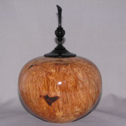 Cremation urn. Maple burl with Ebony lid and finial
