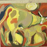 Kuh und Kalb, 100 x 70 cm, ca. 1985