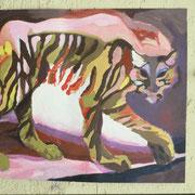 Auf einem Tiger reiten,  120 x 90 cm, ca. 1985