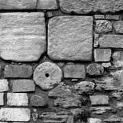 Steine aus der Mauer des Justinian in Istanbul, Mai 2010