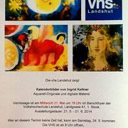 Einladung zur Ausstellung in der VHS Landshut 2014