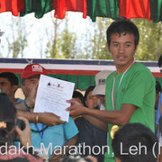 Award Ceremony: Stanzin Norboo, winner Half Marathon, time: 01:25:33