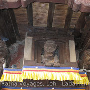 Wood Carving at the restored Entrance of Leh Palace