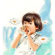 パステル画                                      花と遊ぶ
