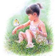 パステル画                                        蝶の戯れ
