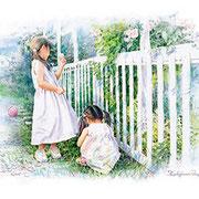 パステル画                                    むくげの咲く庭で