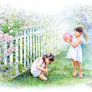 パステル画                                    バラの庭で遊ぶ