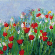 Ulrike Hansen: Roter Mohn, 2016, Eitempera auf Leinwand, 80×100 cm