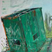 mit Georg Baselitz draussen, 2016, 60 x 84 cm, Öl auf Plakat