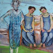 die drei Grazien -  mir Ferdinand Hodler am Meer, 2016, 60x84 cm, Öl auf Plakat