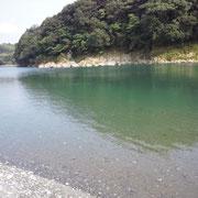 取水口のすぐ下流、深いところに潜りました