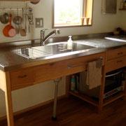 ナラ 自邸キッチン W2,700  D700  H900