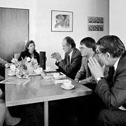 Christo und Jeanne-Claude im Gespräch mit Heribert Scharrenbroich, Claus-Peter Grotz und Hans-Peter Voigt (alle CDU) // Foto: Wolfgang Volz