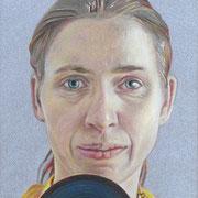 Selbst mit drittem Auge, 2016. (Studie; Farbstift auf HDF, 24 x 18 cm)