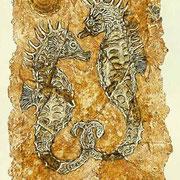 Carborundum-Radierung:  Seepferdchen, versteinert