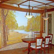 художественная роспись стен в гостинной