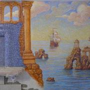 роспись стен кухни в морском стиле