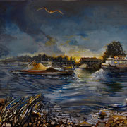 Daybreak on the river IJssel - oil with sand and slices on canvas - 80 x 120 cm