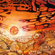 The Sun - oil with sand on canvas - 70 x 100 cm