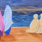wartende Fischerfrauen gemalt nach Kenzomotiv