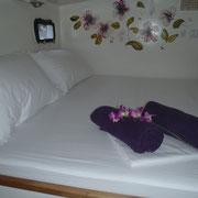 Schlafbereich auf der Segelyacht Cataleya