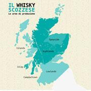 Mappa delle zone di produzione del Whisky scozzese