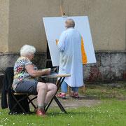 Gemeinsames Malen mit Renate im Freien