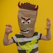 Monstermasken - selbst gemachte Dekoration für Kinderparty und Kindergeburtstag