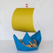 Papierschiffchen als Schüsselersatz - selbst gemachte Dekoration für Kinderparty und Kindergeburtstag