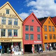Bunte Häuser in Bergen