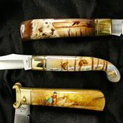 Miniature ad aerografo su coltelli da collezione by Lorena Straffi