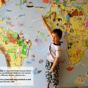 """""""Eine Welt-Karte"""" (Ausschnitt) im Rahmen der Ausstellung """"Ganz weit weg und doch so nah"""", Labyrinth Kindermuseum Berlin"""