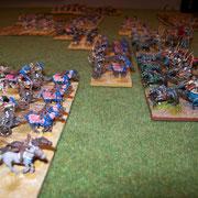 die gegnerischen Streitwagen nähern sich