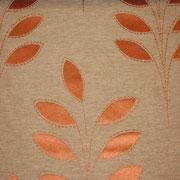 Ткань портьерная Io Unique Арт. Leaf Orange 537069/3; ширина 143 см; плотность 186 гр.; раппорт (шхв) 28х 42,5 см; состав 45,3% полиэстер, 41% хлопок, 13,7% вискоза