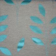 Ткань портьерная Io Unique Арт. Leaf Turquoise 537069/5; ширина 143 см; плотность 186 гр.; раппорт (шхв) 28х 42,5 см; состав 45,3% полиэстер, 41% хлопок, 13,7% вискоза